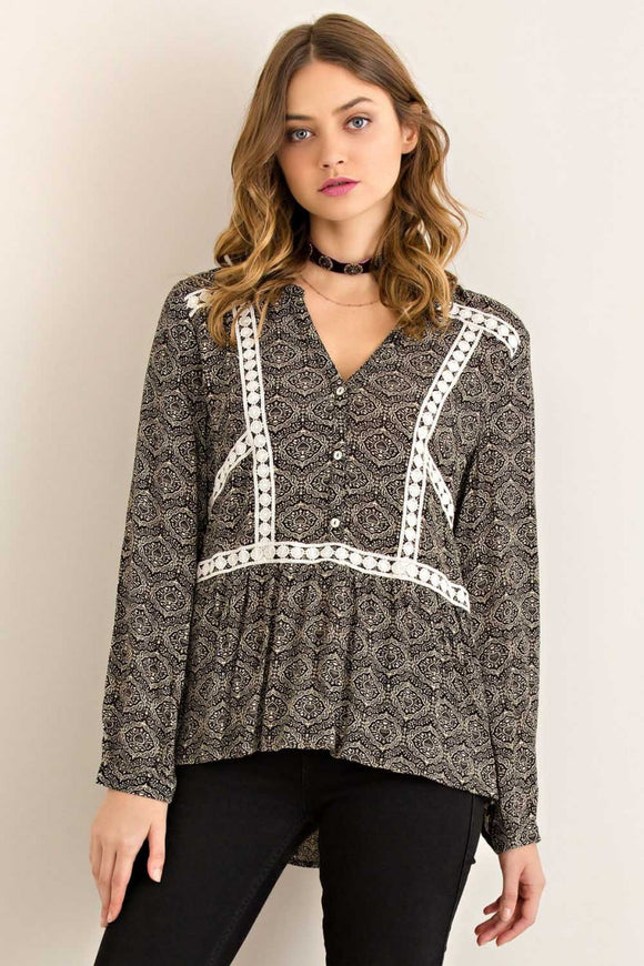 Lace Trim Blouse- Black
