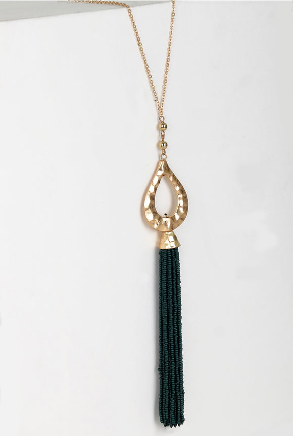 Bead Tassel Necklace {green/gold}