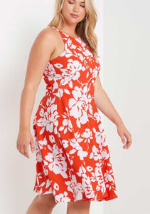 Floral Fit & Flare Dress [Plus] {orange}