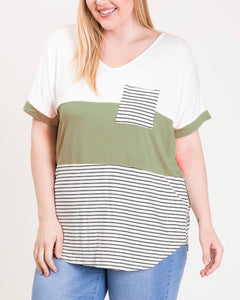Emma Top [plus] {olive/stripes}