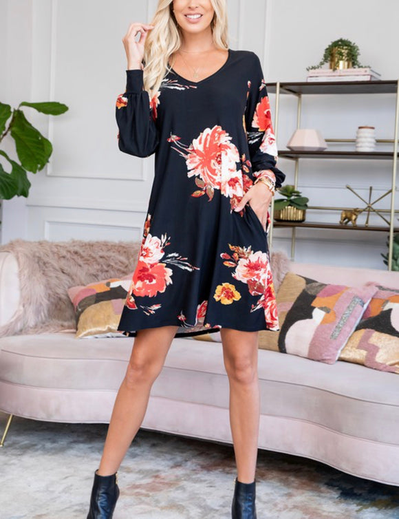 Cory Dress {black floral & Plus}