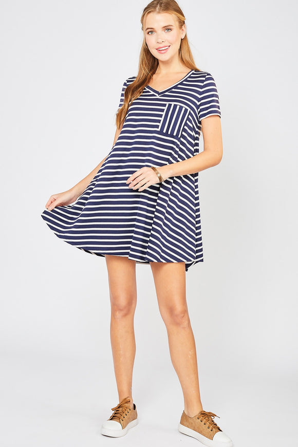 Penny Dress [plus] {navy/stripe}