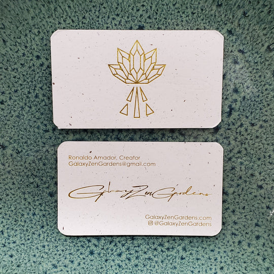 Hemp paper business card with gold foil printed for Galaxy Zen Gardens by Hemp Press