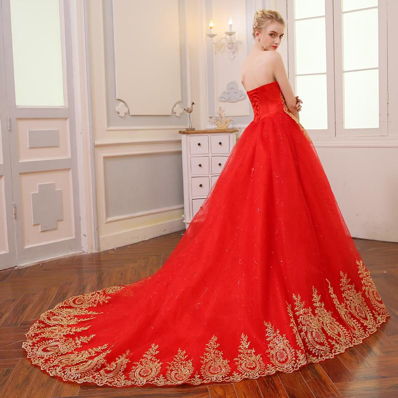 Vintage Lace Red Wedding Dresses Long Train – S.H.N Trendy