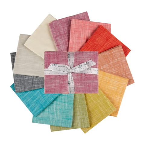 This Factory Cut FAT QUARTER BUNDLE contains 12 Manchester Yarn Dyed Cotton Fabrics designed to Coordinate with Library by Elizabeth Hartman for Robewrt Kaufman Fabrics.    Manufacturer: Robert Kaufman Designer: Elizabeth Hartman Collection: Library Material: Yarn Dyed Cotton Weight: Quilting