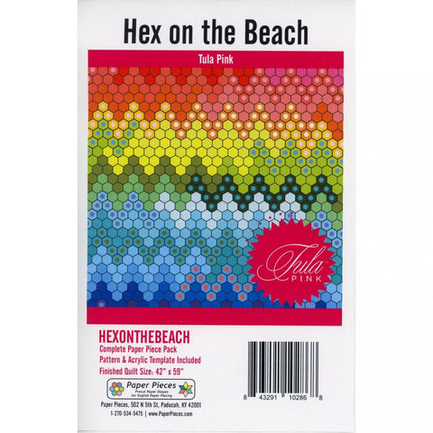 "Hex on the Beach by Tula Pink.  Includes Pattern, Pink 1"" Hexagon Acrylic Template with 3/8"" Seam Allowance and (1000) 1"" Hexagon Paper Pieces.  Finished Quilt Size is 42"" x 59""."