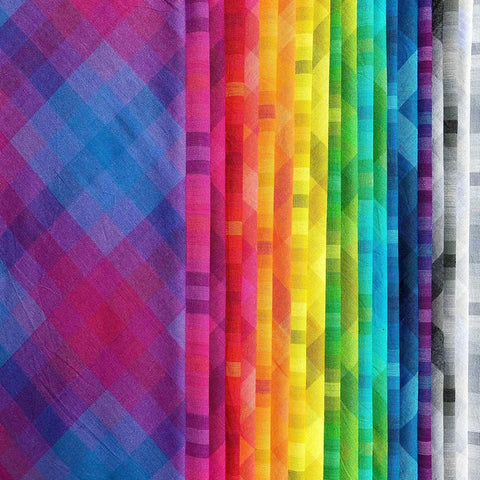 This FAT QUARTER BUNDLE contains 20 woven cotton prints from Kaleidoscope - Stripes and Plaids by Alison Glass for Andover Fabrics  Manufacturer: Andover Fabrics Designer: Alison Glass Collection: Kaleidoscope - Stripes and Plaids Material: 100% Woven Cotton  Weight: Quilting