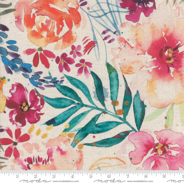 Manufacturer: Moda Fabrics Designer: Laura Muir Collection: Brightly Blooming Print Name: Brightly Blooming LINEN in White Material: 70% Cotton 30% Linen Weight: Quilting  SKU: 8430L-11