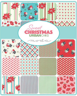 This factory cut FAT QUARTER BUNDLE contains 26 quilting cotton prints from Sweet Christmas by Urban Chiks for Moda Fabrics.   Manufacturer: Moda Fabrics Designer: Urban Chiks Collection: Sweet Christmas Material: 100% Cotton  SKU: 31150AB Weight: Quilting