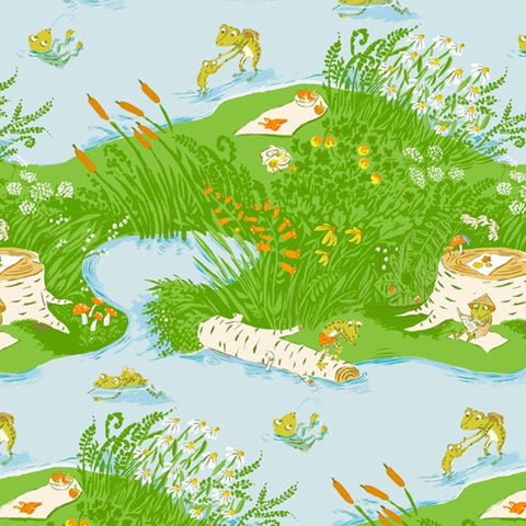 Heather Ross - 20th Anniversary Collection - Frog Pond in Blue