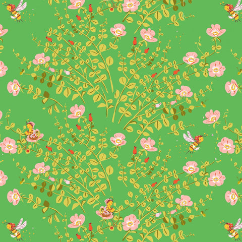 Manufacturer: Windham Fabrics Designer: Heather Ross Collection: 20th Anniversary Collection Print Name: Nanny Bee in Green Material: 100% Cotton  Weight: Quilting  SKU: WIND 37023A-5 Width: 44 inches