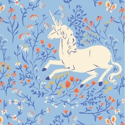 Manufacturer: Windham Fabrics Designer: Heather Ross Collection: 20th Anniversary Collection Print Name: Unicorn in Blue Material: 100% Cotton  Weight: Quilting  SKU: WIND 39657A-4 Width: 44 inches