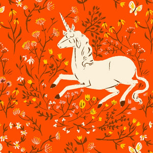 Manufacturer: Windham Fabrics Designer: Heather Ross Collection: 20th Anniversary Collection Print Name: Unicorn in Orange Material: 100% Cotton  Weight: Quilting  SKU: WIND 39657A-7 Width: 44 inches