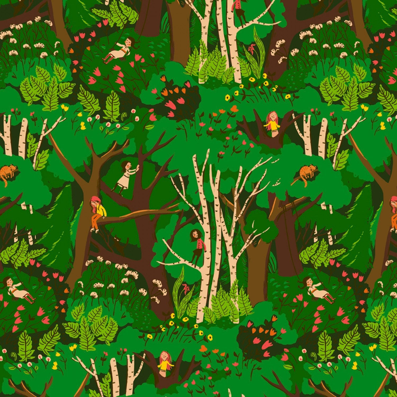 Manufacturer: Windham Fabrics Designer: Heather Ross Collection: 20th Anniversary Collection Print Name: Climbing Trees in Green Material: 100% Cotton  Weight: Quilting  SKU: WIND 40927A-2 Width: 44 inches