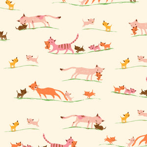 Manufacturer: Windham Fabrics Designer: Heather Ross Collection: 20th Anniversary Collection Print Name: Morning Cats in Cream Material: 100% Cotton  Weight: Quilting  SKU: WIND 40931A-5 Width: 44 inches