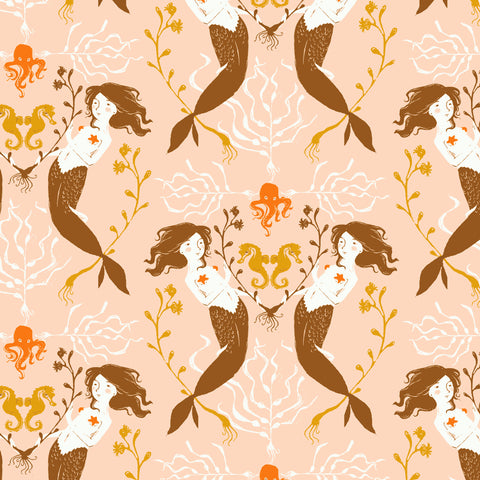 Manufacturer: Windham Fabrics Designer: Heather Ross Collection: 20th Anniversary Collection Print Name: Mermaids in Blush Material: 100% Cotton  Weight: Quilting  SKU: WIND 40944A-3 Width: 44 inches