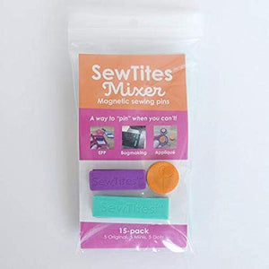 "SewTites are a way to ""pin"" when you can't!  Magnetic ""pins"" for sewing super thick materials like leather or cork or pieces that aren't near an edge like pockets on bags.  Simply align the pieces you need to sew together, snap on the SewTites, and sew!  No more pin holes.  Easily keep thick materials together.  Won't break like clips."
