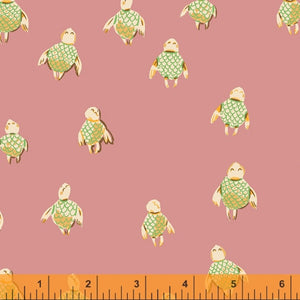 Manufacturer: Windham Fabrics Designer: Heather Ross Collection: Malibu Print Name: Sea Turtles in Rose Material: 100% Cotton  Weight: Quilting  SKU: WIND 52150-16 Width: 44 inches