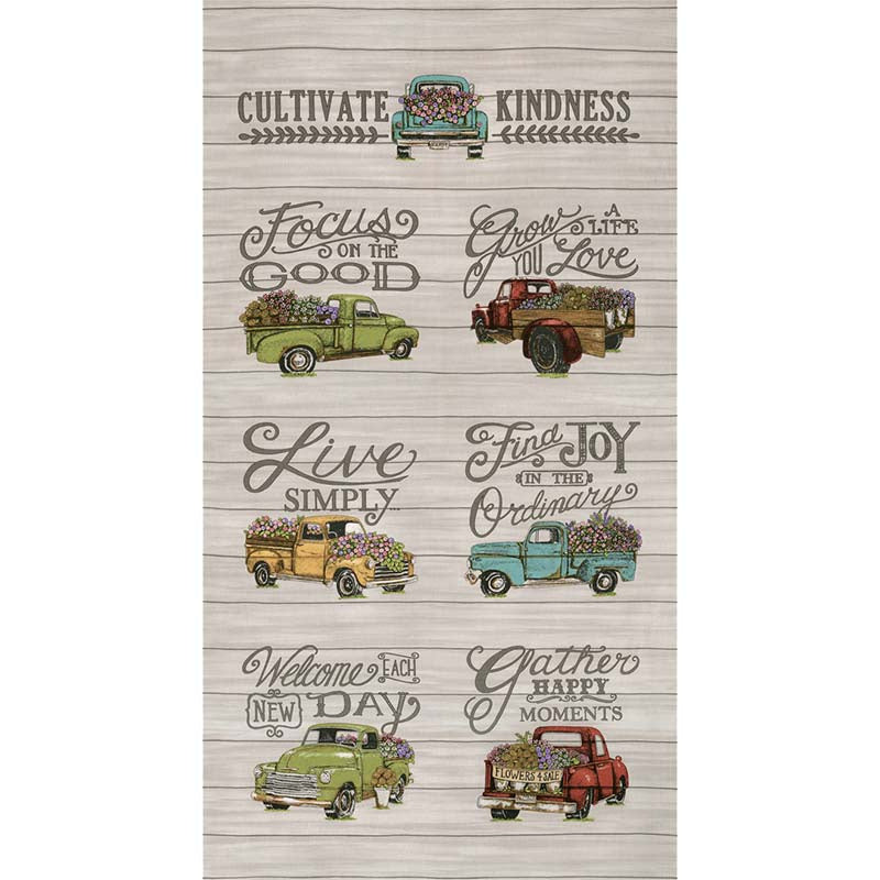 "This listing is for one (1) panel.  Panel measures 24"" x 44""  Manufacturer: Moda Designer: Deb Strain Collection: Cultivate Kindness Print Name: Kindness Galvanized in Vintage Tan Material: 100% Cotton  Weight: Quilting  SKU: 19930-11 Width: 44 inches"
