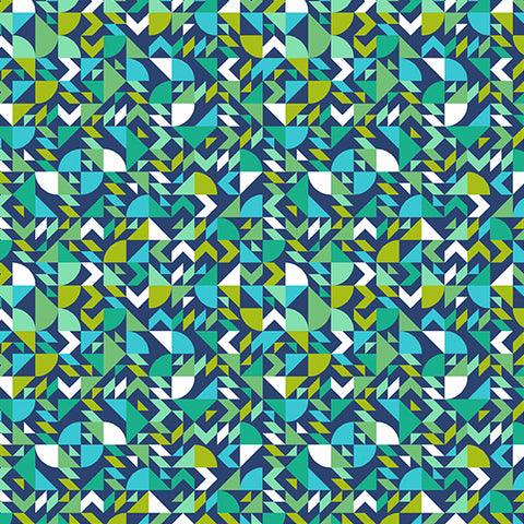 Manufacturer: Andover Fabrics Collection: The Andover Collective Designer: Libs Elliott Print Name: Geometric in Teal Material: 100% Cotton  Weight: Quilting  SKU:  A-9437-T Width: 44 inches