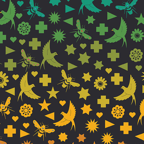 Manufacturer: Andover Fabrics Designer: Alison Glass Collection: Art Theory Print Name: Seventy Six Bird and Bee in Black Material: 100% Cotton Weight: Quilting  SKU: A-9699-C Width: 44 inches