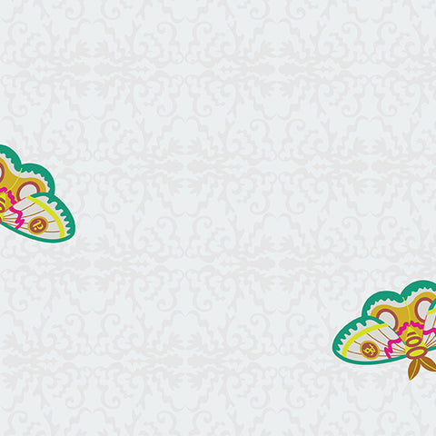 Manufacturer: Andover Fabrics Designer: Alison Glass Collection: Art Theory Print Name: Rainbow 100 Moth in White Material: 100% Cotton Weight: Quilting  SKU: A-9700-L Width: 44 inches
