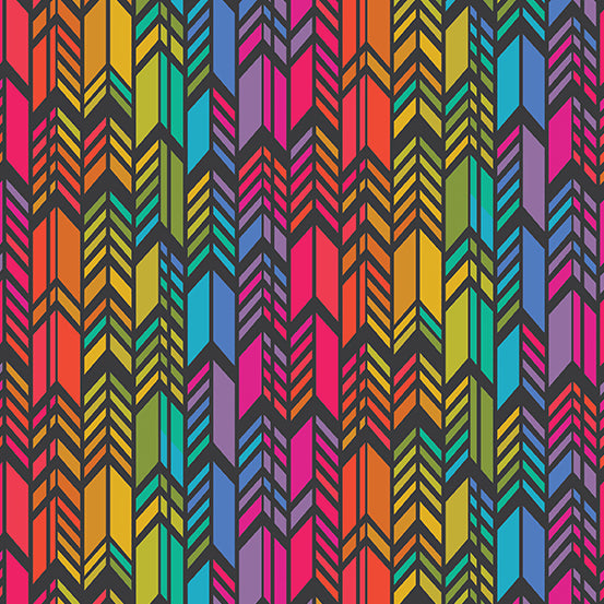 Manufacturer: Andover Fabrics Designer: Alison Glass Collection: Art Theory Print Name: Rainbow Feather in Black Material: 100% Cotton Weight: Quilting  SKU: A-9701-C Width: 44 inches