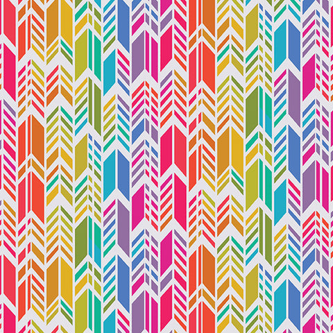 Manufacturer: Andover Fabrics Designer: Alison Glass Collection: Art Theory Print Name: Rainbow Feather in White Material: 100% Cotton Weight: Quilting  SKU: A-9701-L Width: 44 inches