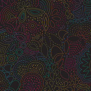 Manufacturer: Andover Fabrics Designer: Alison Glass Collection: Art Theory Print Name: Rainbow Stitched in Black Material: 100% Cotton Weight: Quilting  SKU: A-9702-C Width: 44 inches