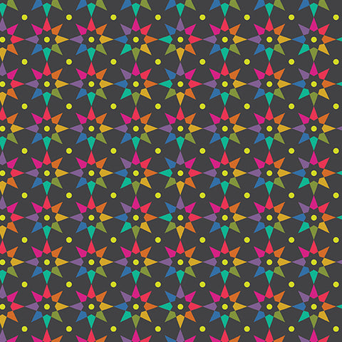 Manufacturer: Andover Fabrics Designer: Alison Glass Collection: Art Theory Print Name: Rainbow Star in Black Material: 100% Cotton Weight: Quilting  SKU: A-9703-C Width: 44 inches