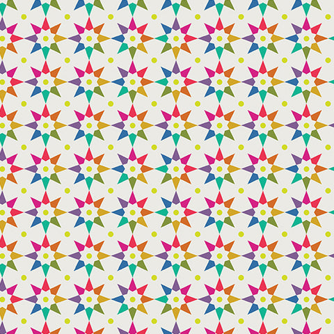 Manufacturer: Andover Fabrics Designer: Alison Glass Collection: Art Theory Print Name: Rainbow Star in White Material: 100% Cotton Weight: Quilting  SKU: A-9703-L Width: 44 inches
