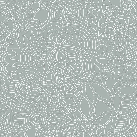 Manufacturer: Andover Fabrics Designer: Alison Glass Collection: Century Prints - Hopscotch Print Name: Stitched in Smoke Material: 100% Cotton Weight: Quilting  SKU: CS-21-SMOKE Width: 44 inches