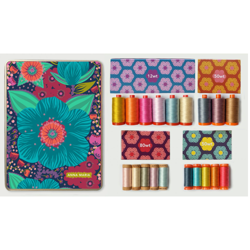 Hindsight is a celebration of Anna Maria Horner's 15th year in fabric design.  This designer Aurifil bundle includes a Custom Tin and 4 Mini Collections:  6 large spools 12 wt - 5022, 2225, 2588, 2510, 5008, 2312 3 large spools 50 wt - 2605, 2566, 2340 5 small spools 50 wt - 1158, 5006, 5015, 5009, 2530 5 small spools 80 wt - 2410, 2000, 5021, 2510, 5007