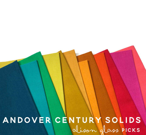 This HALF YARD BUNDLE contains 12 quilting cotton prints from Century Solids - Alison Glass Designer Picks for Andover Fabrics.  Manufacturer: Andover Fabrics Designer: Andover Fabrics Collection: Century Solids - Alison Glass Designer Picks Material: 100% Cotton Weight: Quilting