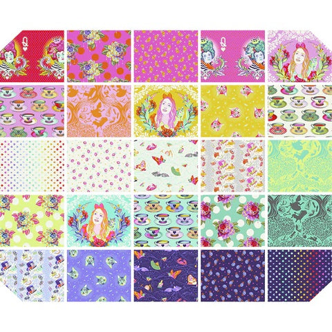 This Factory Cut FAT QUARTER bundle contains 25 quilting cotton prints from Curiouser & Curiouser by Tula Pink for Freespirit Fabrics  Manufacturer: FreeSpirit Fabrics Designer: Tula Pink Collection: Curiouser & Curiouser Material: 100% Cotton  Weight: Quilting