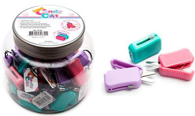 Compact handy pocket scissors. Slide open to cut slide back to close easy to use. Safe rounded blunt tip. Great for trimming loose thread or opening small packages. Hang them to keychain with the elastic strap provided.  Purple, Pink or Teal available.