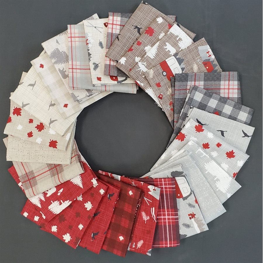 This factory cut Canadian FAT QUARTER BUNDLE contains 26 quilting cotton prints from True North 2 by Kate and Birdie for Moda Fabrics.  Manufacturer: Moda Fabrics Designer: Kate and Birdie Collection: True North 2 Material: 100% Cotton  SKU: 13210AB Weight: Quilting