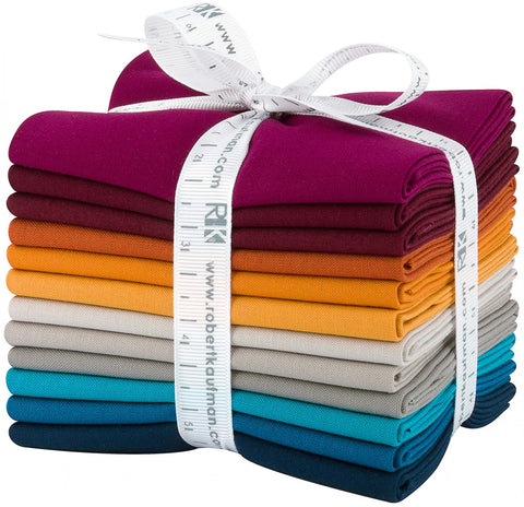 This factory cut FAT QUARTER BUNDLE contains 12 cotton fabrics from Kona Solids for Robert Kaufman Fabrics.    Manufacturer: Robert Kaufman Fabrics Collection: Kona Cotton Solids Tuscan Skies Material: 100% Cotton  SKU: FQ-1384-12 Weight: Quilting