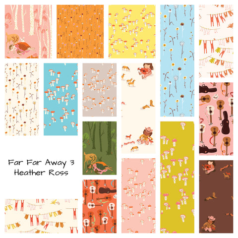 This FAT QUARTER BUNDLE contains 23 quilting cotton prints from Far Far Away 3 by Heather Ross for Windham Fabrics.  Manufacturer: Windham Fabrics Designer: Heather Ross Collection: Far Far Away 3 Material: 100% Cotton Weight: Quilting
