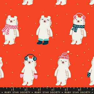 Manufacturer: Ruby Star Society Designer: Sarah Watts Collection: Flurry Print Name: Snow Bears in Ruby Material: 100% Cotton  Weight: Quilting  SKU: 5028-12 Width: 44 inches