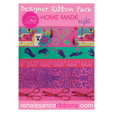 This pack of gorgeous woven ribbons features a selection from Tula Pink's HomeMade collection coordinate with her super-popular cotton quilting fabric produced by Free Spirit Fabrics.  It's elegant, fun and that special final touch makes it truly your own!  Made of: 100% Polyester Size: 2yd x 1.5in, 2yd x 7/8in, 1yd x 5/8in, 5 yards total