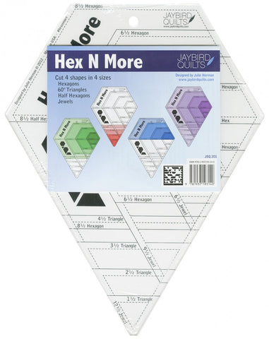 The ruler comes with full color instructions, including cutting and piecing diagrams, just like all Jaybird Quilts books and patterns. All of the pieces can be rotary cut from strips. Ruler can cut 4 shapes in 4 sizes: hexagons, 60 degree triangles, half hexagons and jewels.
