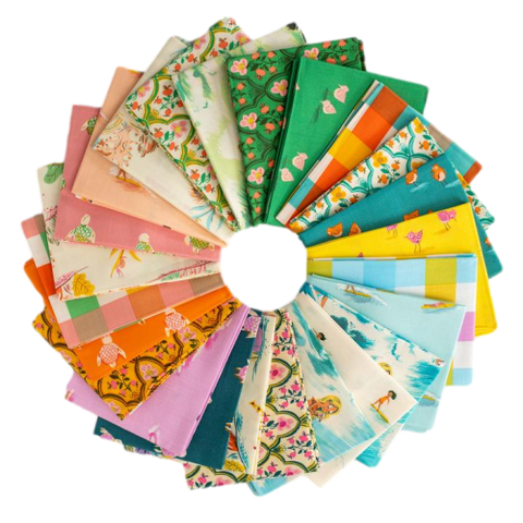 This FAT QUARTER BUNDLE contains 24 quilting cotton prints from Malibu by Heather Ross for Windham Fabrics.    Manufacturer: Windham Fabrics Designer: Heather Ross Collection: Malibu Material: 100% Cotton  Weight: Quilting
