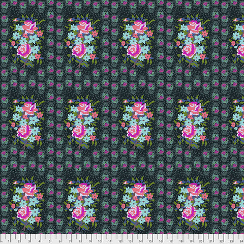 Manufacturer: FreeSpirit Fabrics Designer: Anna Maria Horner Collection: Hindsight Print Name: Stitched Bouquet in Dim Material: 100% Cotton  Weight: Quilting  SKU: PWAH147.Dim Width: 44 inches