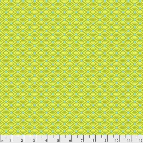 Manufacturer: FreeSpirit Fabrics Designer: Tula Pink Collection: True Color Print Name: Hexy in Chameleon Material: 100% Cotton  Weight: Quilting  SKU: PWTP150.CHAMELEON Width: 44 inches