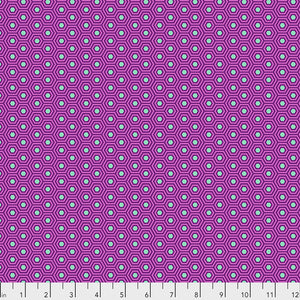 Manufacturer: FreeSpirit Fabrics Designer: Tula Pink Collection: True Color Print Name: Hexy in Thistle Material: 100% Cotton  Weight: Quilting  SKU: PWTP150.THISTLE Width: 44 inches