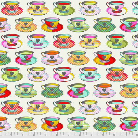 Manufacturer: FreeSpirit Fabrics Designer: Tula Pink Collection: Curiouser & Curiouser Print Name: Tea Time in Sugar Material: 100% Cotton  Weight: Quilting  SKU: PWTP163.SUGAR Width: 44 inches