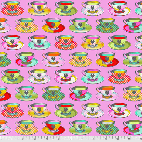 Manufacturer: FreeSpirit Fabrics Designer: Tula Pink Collection: Curiouser & Curiouser Print Name: Tea Time in Wonder Material: 100% Cotton  Weight: Quilting  SKU: PWTP163.WONDER Width: 44 inches