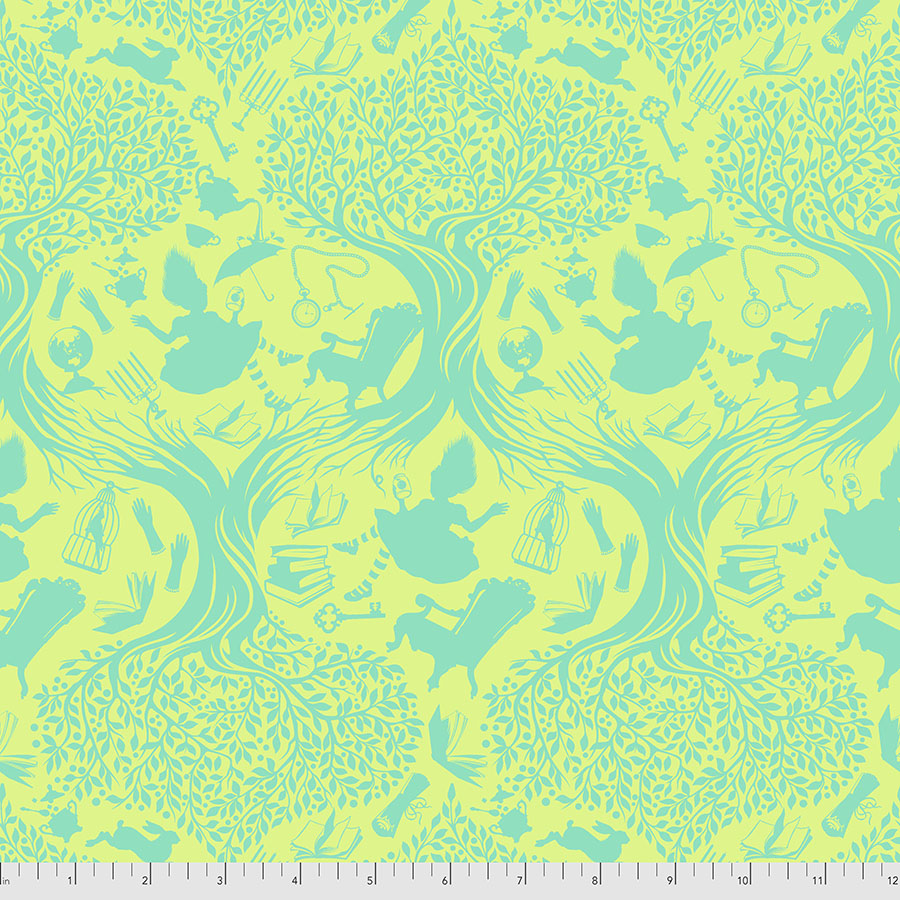 Manufacturer: FreeSpirit Fabrics Designer: Tula Pink Collection: Curiouser & Curiouser Print Name: Down the Rabbit Hole in Bewilder Material: 100% Cotton  Weight: Quilting  SKU: PWTP166.BEWILDER Width: 44 inches