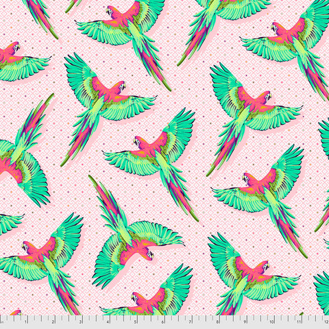 Manufacturer: FreeSpirit Fabrics Designer: Tula Pink Collection: Daydreamer Print Name: Macaw Ya Later in Dragonfruit Material: 100% Cotton  Weight: Quilting  SKU: PWTP170.DRAGONFRUIT Width: 44 inches